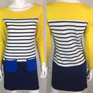 Boden Striped Colorblock Mini Sheath Shirt Dress
